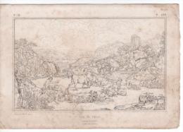 ANCIENNE GRAVURE - ESTAMPE DE ROSA DE TIVOLI - VUE DE TIVOLI - COMBAT DE TAUREAUX - Stiche & Gravuren