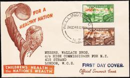 1946. HEALTH STAMPS 2 Ex. FDC WELLINGTON 24 OC 46.  (Michel: 293-294) - JF190405 - FDC