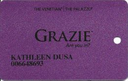 Venetian Casino Las Vegas - Grazie Card - Large Grazie Logo & Small Reverse Paragraph - Casino Cards