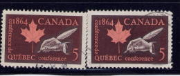 CANADA 1964, # 432, & ONE WITH THE WHITE TAIL On The Q,   QUEBEC CONFERENCE : QUILL & MAPLE LEAF , USED - 1952-.... Règne D'Elizabeth II