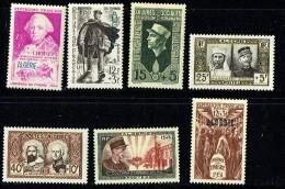 Groupe De 7 Timbres Commémoratifs  * - Algerien (1924-1962)