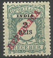 Portuguese India - 1914 Postage Due 2r MH    Sc J23 - Portuguese India