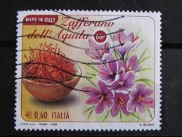 ITALIA USATI 2008 - MADE IN ITALY ZAFFERANO AQUILA DOP - SASSONE 3051 - RIF. G 2077 - 1^ SCELTA - 6. 1946-.. Repubblica