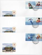 Belarus 2014, 3 FDC (v+label). Medal Winners Of Olympic Games In Sochi. Sport, Biathlon. Cover. - Winter 2014: Sochi