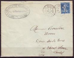 Lettre  De ST URCIZE Cantal  Le 12 2 1923 Avec SEMEUSE 25c Bleu Pour ST FLOUR - 1906-38 Semeuse Camée