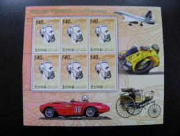 Small Sheetlet From DPR Korea 2006 Jules Verne Ann. France Writer Auto Car Ferrari Transport Plane Motorbike Motorcycle - Korea, North