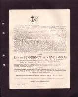 GENDBRUGGE HEUSDEN Germaine Le GRAND épouse Léon De SEJOURNET De RAMEIGNIES 1895-1925 Enterrée Heusden Doodsbrief - Avvisi Di Necrologio