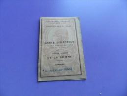 Carte D Electeur  Département  De La Somme  Commune De St Valéry   Sur  Somme  1946 -1947 - Saint Valery Sur Somme