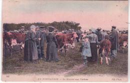 165 - EN NORMANDIE - Le Marché Aux Vaches -ed. N D - Colorisé - Localisé à LESSAY - Other Municipalities
