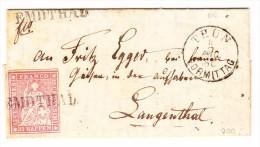 Heimat BE EMDTHAD Balkenstempel Mit 15Rp. Strubel 11.8.1861 Brief Nach Langenthal - Lettres & Documents
