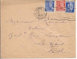 Lettre De France N°407 + 409 + 365 Sur Lettre - 1921-1960: Modern Period