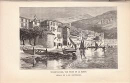 1892 - Gravure Sur Bois D´après F. De Montholon - Villefranche-sur-Mer - Vue Prise De La Santé - FRANCO DE PORT - Prints & Engravings