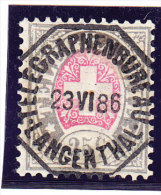 Heimat BE LANGENTHAL TELEGRAPHENBUREAU 23.6.1886 AUF 25c. Telegrafen Marke #15 O - Télégraphe