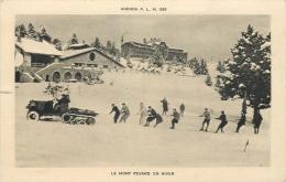38 LE MONT REVARD EN HIVER - GROUPE SKIEURS TIRE PAR VOITURE-NEIGE - Autres Communes