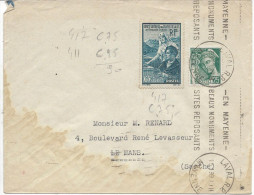 Lettre De France N°411 + 417 Sur Lettre - 1921-1960: Modern Period