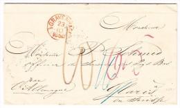 Heimat GL GLARUS 20.10.1860 AK-Stempel Und Zugst. Zürich-Glarus Auf Brief Aus Gravenhage Holland - ...-1852 Voorlopers