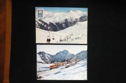 2 CP Les 2 Alpes Flamme  Entrée Station Et Télésiege Des Cimes 1967/8 - Autres Communes