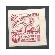España, Guerra Civil, UGT, Lluita Anti-feixista Federeació Catalana Indústries Químiques 10 Rojo, Prueba En Papel Grueso - Viñetas De La Guerra Civil