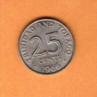 TRINIDAD & TOBAGO   25 CENTS 1966  (KM # 4) - Trinidad & Tobago