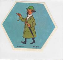 25438 Vignette Publicitaire Autocollante Octogonale !état!- TITIN HERGE -la Vache Qui Rit Fromage -professeur Tournesol