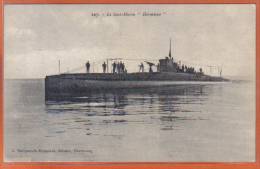 Carte Postale 50. Cherbourg  Le Sous-marin HERMIONE   Trés Beau Plan - Cherbourg
