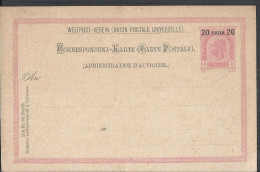AUSTRIA OSTERREICH COVER STATIONARY POST CARD OESTRICH 1902 OTTOMAN 20 PARA - Covers & Documents