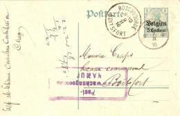 Entier Postal Ciney 1916 - Censure Rectangulaire Namur - [OC1/25] General Gov.