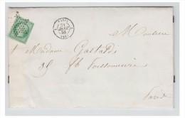 FRANCE -1858 - LETTRE DE PARIS POUR PARIS -- TARIF IMPRIME 5Cmes -- Oblitération étoile Muette -- - Marcophilie (Lettres)