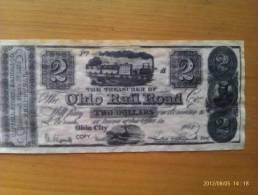 Billete Ohio City. 2 Dólares. 1845. Estados Unidos De América. - Valuta Coloniale (XVIII Secolo)
