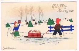 Bonne Année / Gelukkig Nieuwjaar, Illustrée Par James Pennyless, Circulée En 1945 - N° 1111 - 2 Scans - Pennyless, James