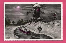 CPA, Peinture, Moulins, Péniche, (Cim) - Cartoline