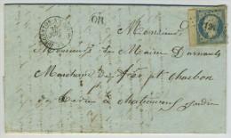 TàD Argenton-sur-Creuse + PC 126 + OR / LàC 1854 Pour Marchand De Fer à Châteauroux. N0 14 Avec Bord De Feuille. - Poststempel (Briefe)