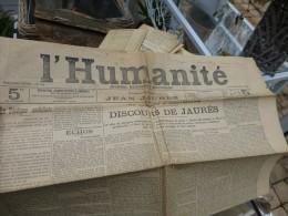 L'HUMANITE Août 1904, DISCOURS De Jaurès Au Congrès D'AMTSERDAM  ; Ref  238 C 21 - Zeitungen