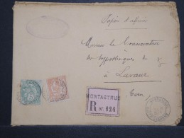 FRANCE - Env En Recommandée (étiquette) Sur Papier D' Affaires De Montastruc Pour Lavaur En 1901 - A Voir - Lot P14766 - Posttarife