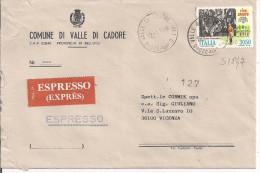 CINEMA, RISO AMARO,L.3050,S 1847, IN TARIFFA LETTERA ESPRESSO,POSTE VALLE DI CADORE, BELLUNO, TEMATICA COMUNI D'ITALIA - 6. 1946-.. Republik