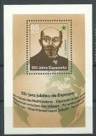 ESPERANTO - GERMANIA ORIENTALE DDR Ludwik Lejzer Zamenhof - 100 JARA JUBILEO DE ESPERANTO - FOGLIETTO BB - Esperanto