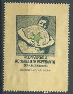 ESPERANTO - BERN BERNA 1913 -  IX UNIVERSALA KONGRESO DE ESPERANTO - ERINNOFILO  CHIUDILETTERA CINDERELLA - Esperanto