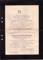 VERVIERS Auguste PELTZER Veuf BACOT 1893 Industriel Sénateur Ancien Député Conseiller Provincial Faire-part Décès - Décès
