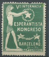 ESPERANTO -BARCELONO BARCELLONA   -  V  INTERNACIA KONGRESO DE ESPERANTO - ERINNOFILO  CHIUDILETTERA CINDERELLA - Esperanto