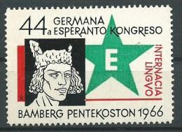 ESPERANTO -BAMBERG PENTEKOSTON 1966  - 44  INTERNACIA KONGRESO DE ESPERANTO - ERINNOFILO  CHIUDILETTERA CINDERELLA - Esperanto