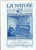 LA NATURE Revue Des Sciences ,phonétique Expérimentale , N°2472, 20 Aout 1921 - 1900 - 1949