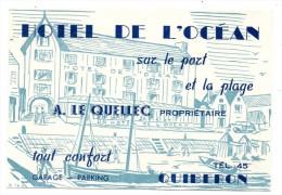 Carte Hotel De L'Océan Quiberon Le Quellec - Publicités