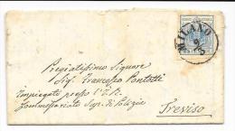 LOMBARDO VENETO 1856 45c. AZZURRO III° TIPO MILANO X TREVISO - Lombardy-Venetia