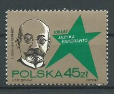 ESPERANTO - POLONIA 1987 - Ludwik Lejzer Zamenhof  JUBILEO  DE ESPERANTO- 45 Zt - Esperanto