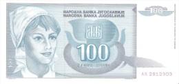 Yugoslavia - Pick 112 - 100 Dinara 1992 - Unc - Jugoslavia