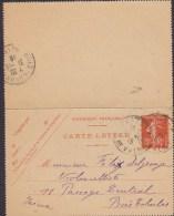 France Postal Stationery Ganzsache Entier 10 C. Semeuse Carte-Lettre (534) PARIS Db. De Valmy 1916 BOIS COLOMBES 2 Scans - Ganzsachen