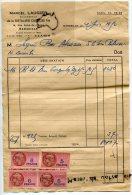 - Bon De Livraison - Marcel LAUGIER, Distillerie, MARSEILLE, Pour Mr Segui, Bar Alcazar Crs Belsunce, 1950, TBE, Scans. - Food