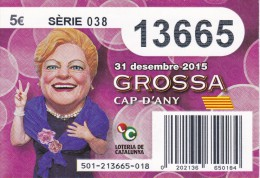 NÚMERO DE LOTERIA DE LA GROSSA DE CAP D´ANY DEL AÑO 2015 (LOTO) VIOLETA - Billetes De Lotería