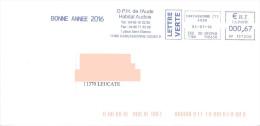 EMA HP 137200 Aude + Flamme Office HLM Carcassonne Habitat Audois Bonne Année 2016 - Marcophilie (Lettres)
