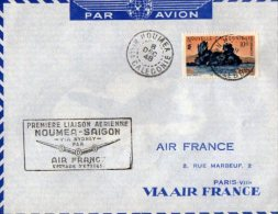 TB 894 - Lettre -  Poste Aérienne - Première Liaison Aérienne NOUMEA - SAIGON Via SYDNEY Pour PARIS - Briefe U. Dokumente